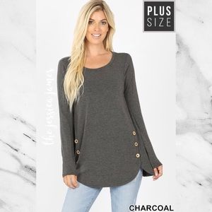 Plus Size Long Sleeve Button Detail Top NEW